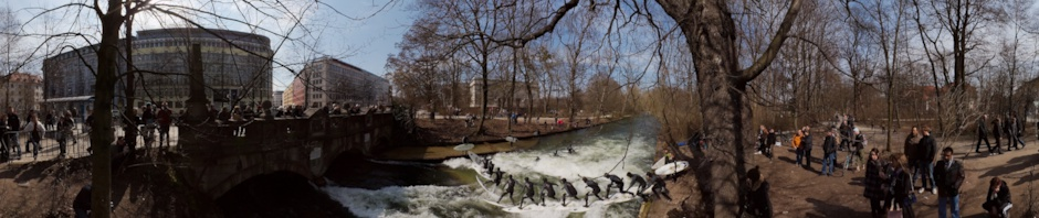 Surfing at Eisbach in Munich