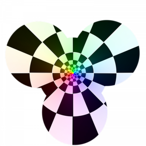 Coloured Chequered Cloverleaf Projection Masked