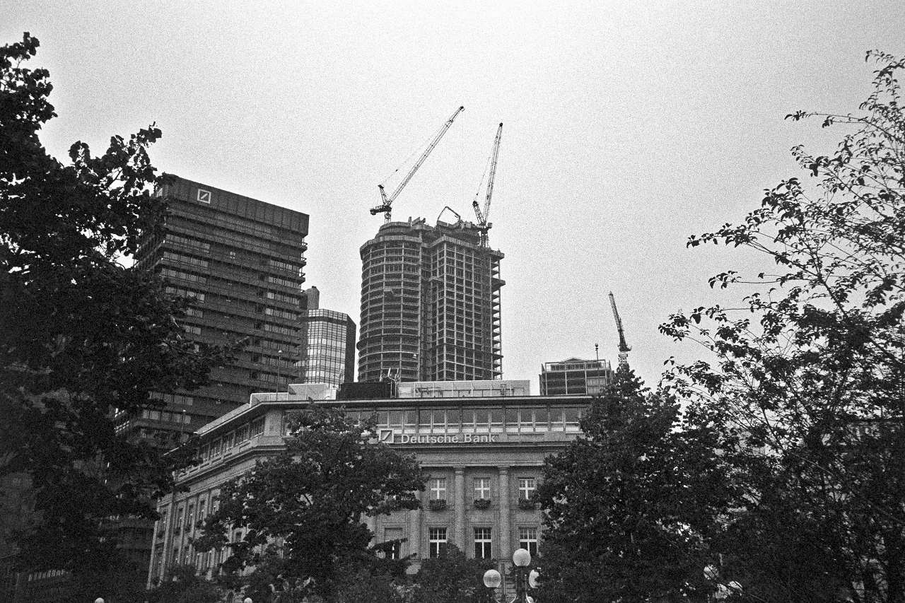 Construction of MAIN TOWER. This image was taken 13 years ago on a black and white film.