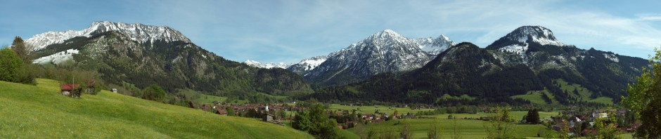 View over Bad Oberdorf and Bad Hindelang
