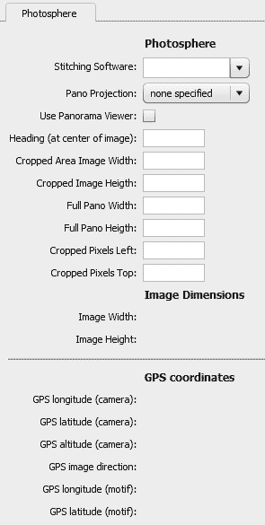 Custom file info panel within Photoshop CC, unpopulated