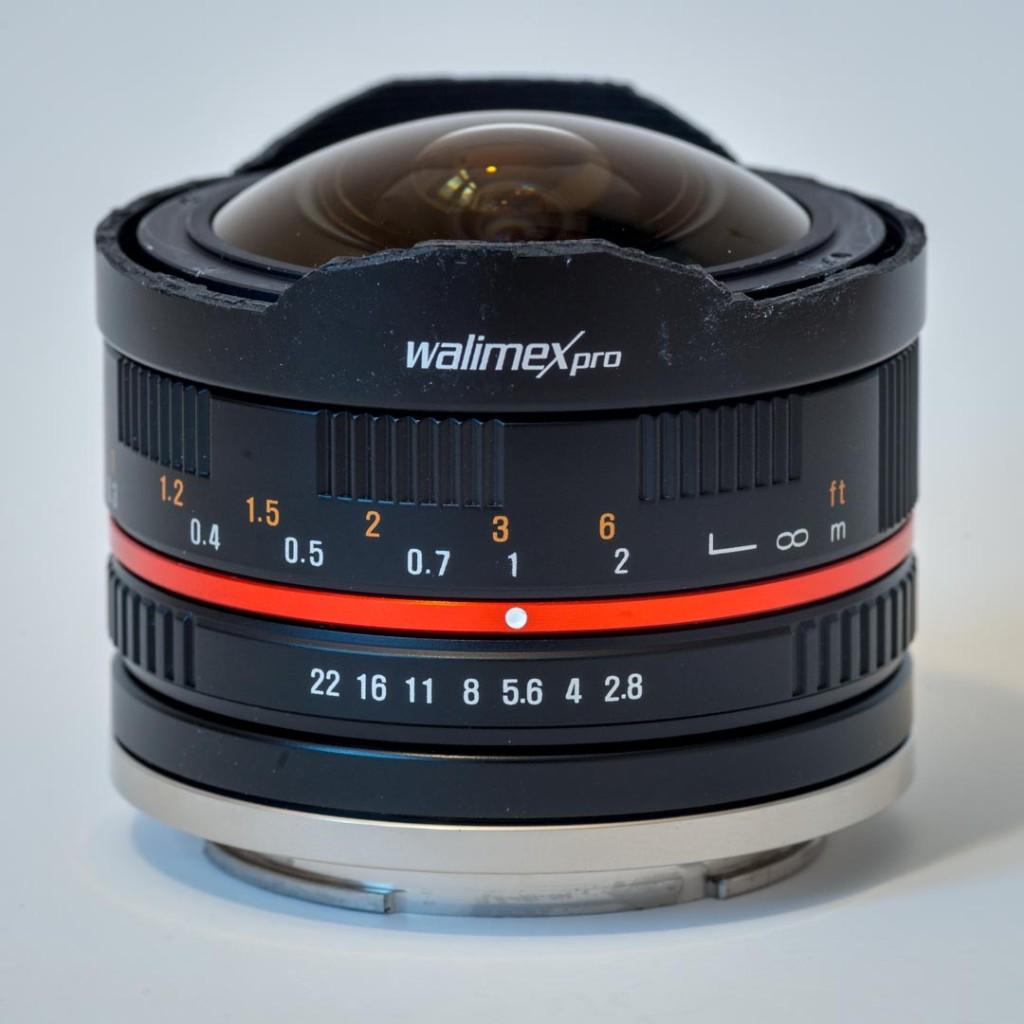 Walimex 8mm/2.8 Fisheye with shaved lens hood