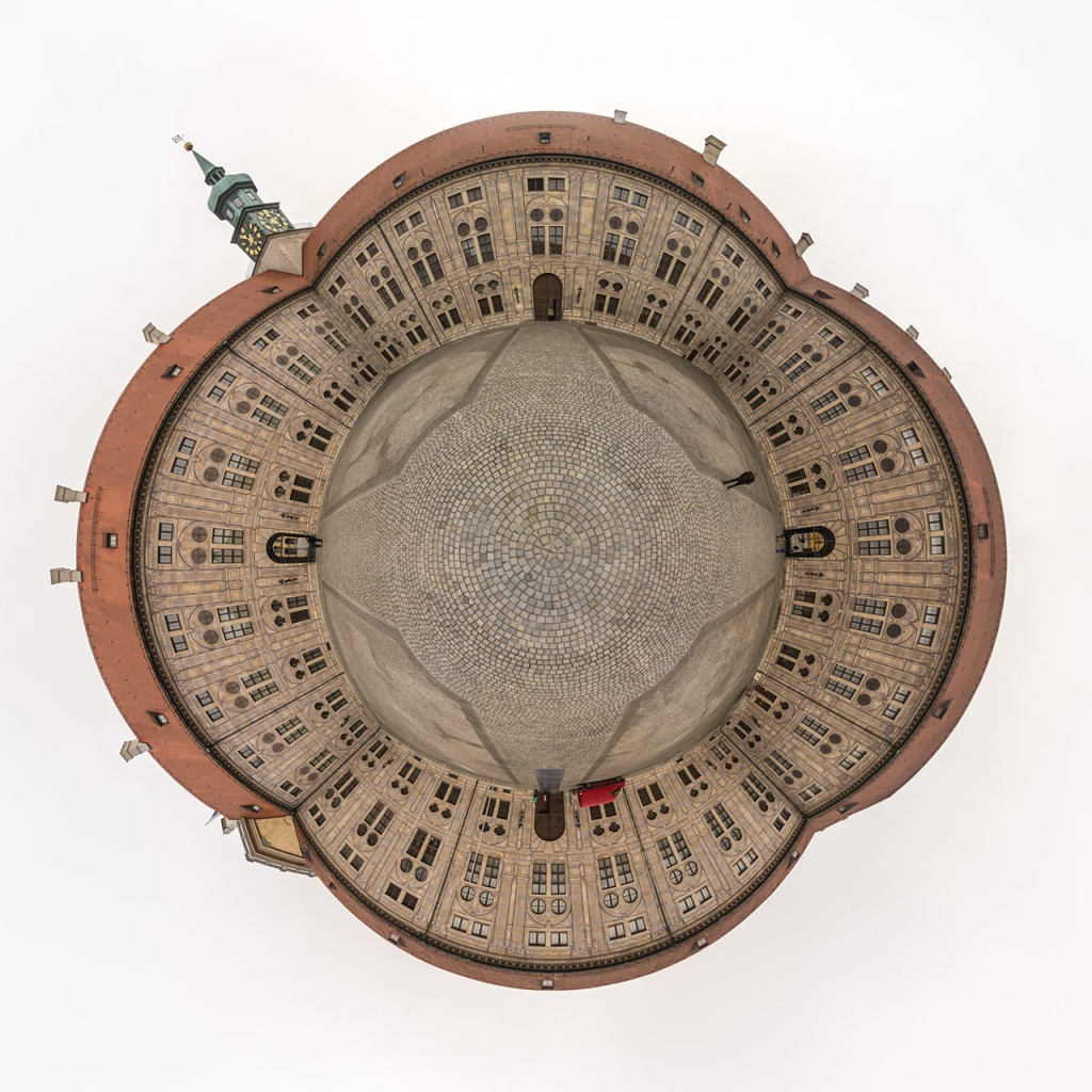 Residenz München Kaiserhof (stereographic reprojection)