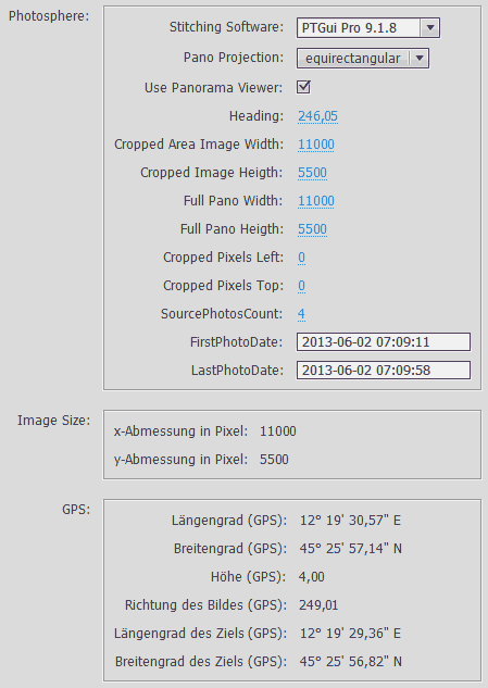 Custom file info panel within Photoshop CC 2014, populated