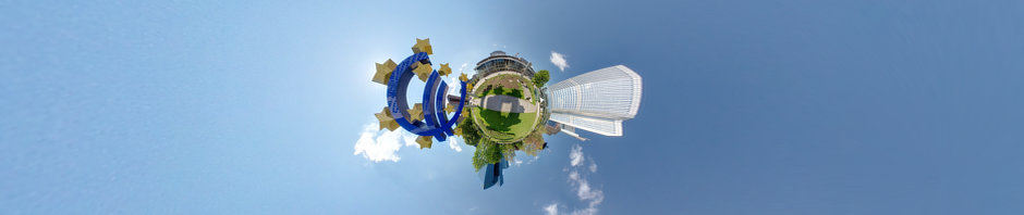 Reprojected Euro Symbol near European Central Bank