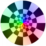 Sample image: A checkered color wheel
