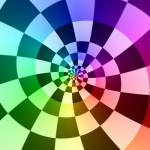 Sample Droste effect: A checkered color wheel spiral