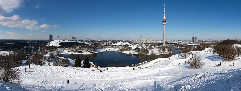 Olympic Park Munich Viewpoint in Winter