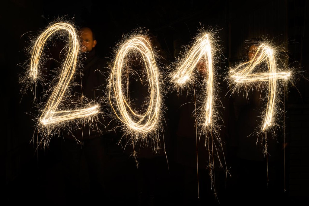 In this image we used sparklers to write 2014 in the air.