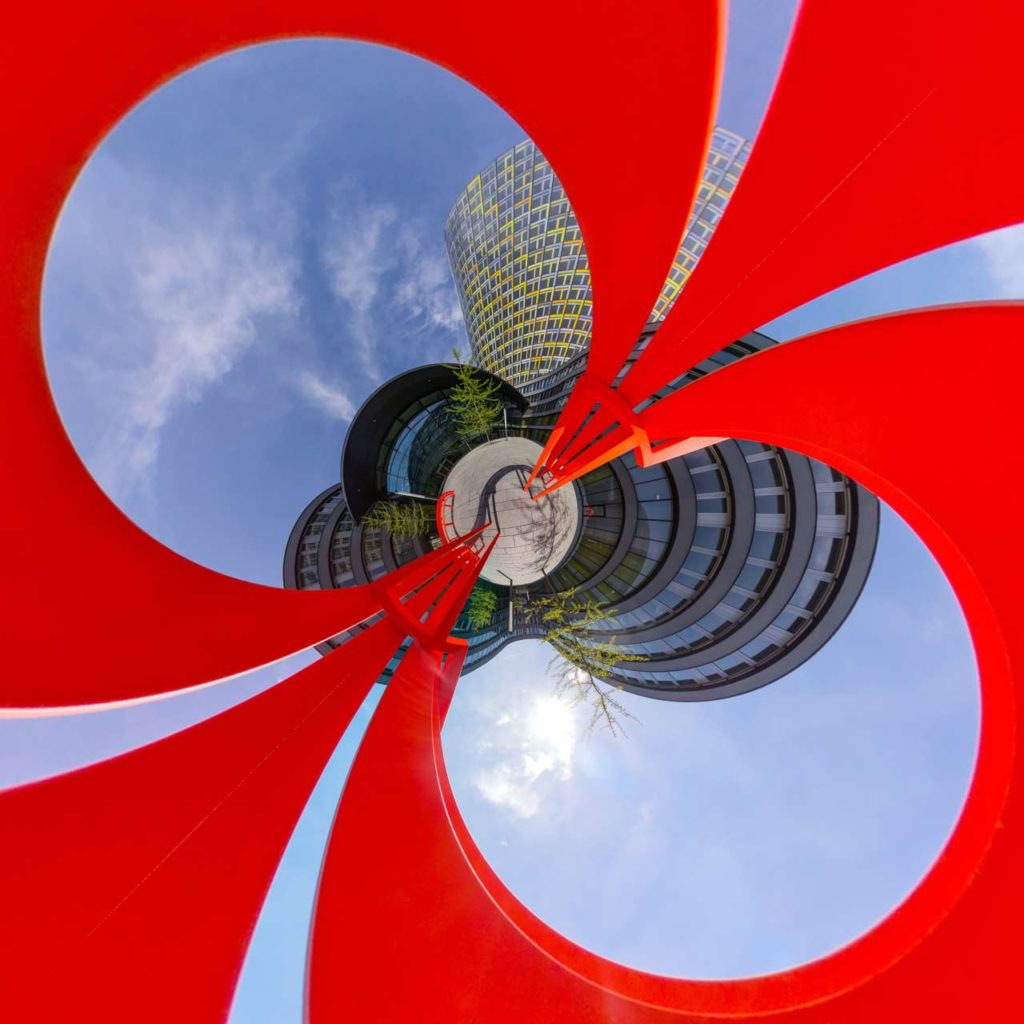 ADAC Headquarters Courtyard - Red Bench Little Planet