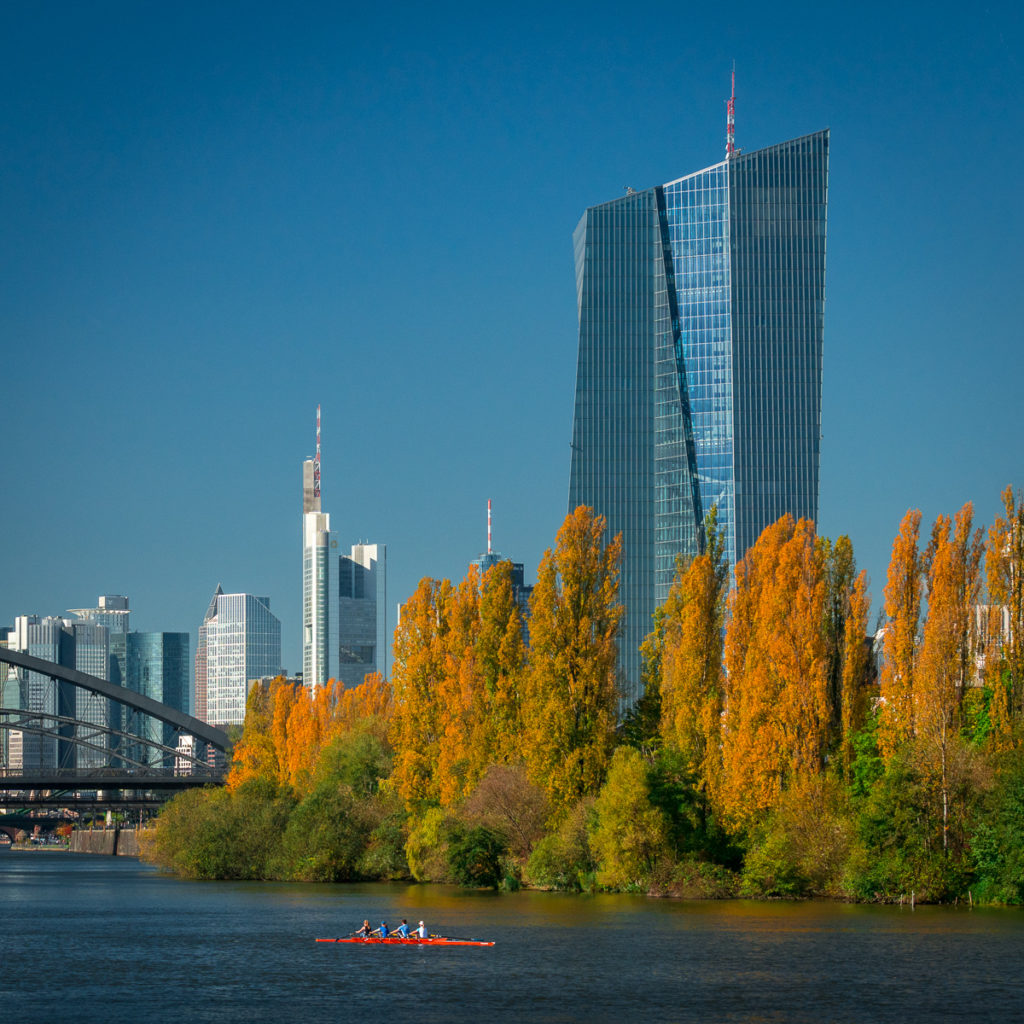 European Central Bank and Skyline of Frankfurt/M.